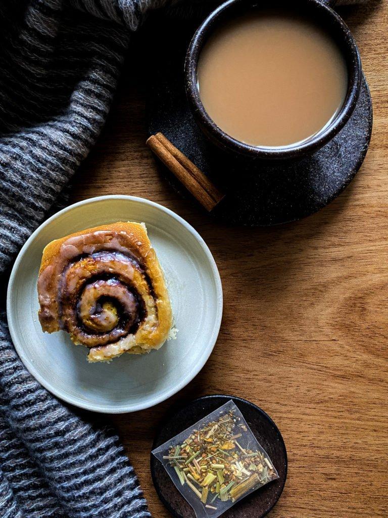 Chai spice cinnamon rolls with vegan chai icing